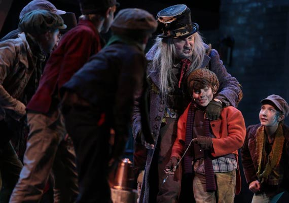 """...Stealing the show as eccentric sticky fingers Fagin,                                  who leads the boys thieving gang, was                                 New York-based Warren Kelley...priceless..."""